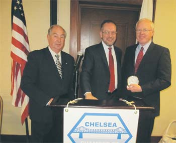 President Of The Chelsea Chamber of Commerce, Presented a Chelsea Clock in Appreciation to Patrick Wardell