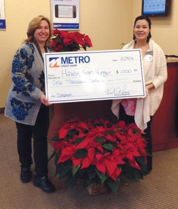 Metro Credit Union Donates to Haven from Hunger