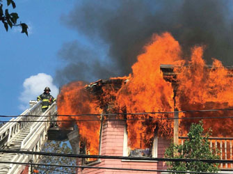 Three-Alarmer Caused by Extension Cords, Air Conditioner